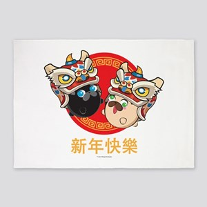 Poopie & Doopie Chinese New Year 5'x7'Area Rug