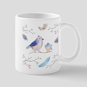 Cute birds flowers & feathers Mugs