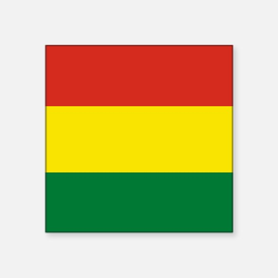 "Flag: Bolivia Square Sticker 3"" x 3"""