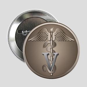 Veterinary Caduceus Button