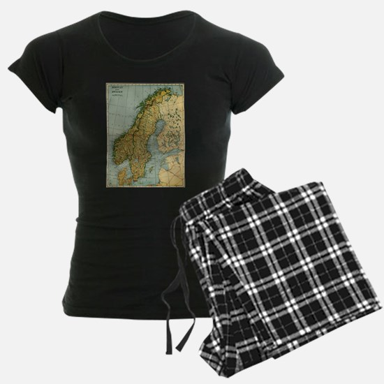 Vintage Map of Norway and Sweden (1921) Pajamas