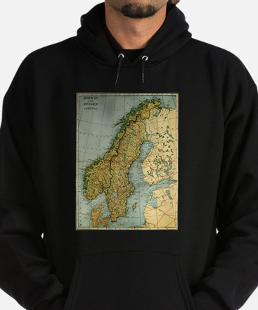 Vintage Map of Norway and Sweden (1921) Sweatshirt