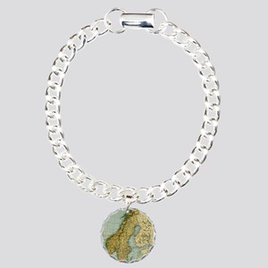 Vintage Map of Norway an Charm Bracelet, One Charm