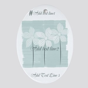 Add Text White Flowers Mint Oval Ornament