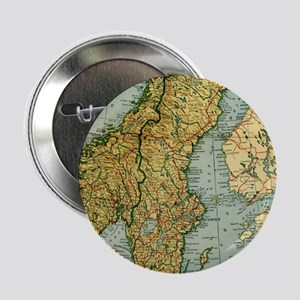 """Vintage Map of Norway and Sweden (192 2.25"""" Button"""