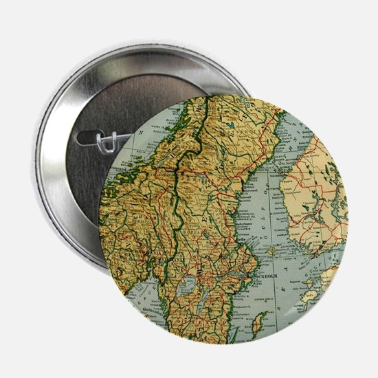 "Vintage Map of Norway and Sweden (192 2.25"" Button"