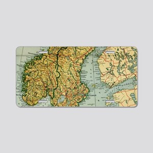Vintage Map of Norway and S Aluminum License Plate