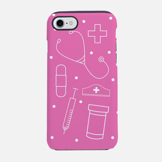 Nurse Line Art Pink iPhone 7 Tough Case