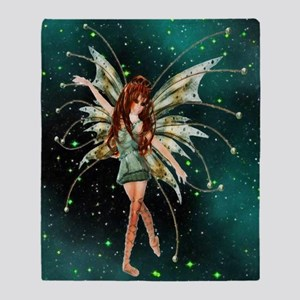 Green Fairy Throw Blanket