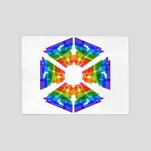 Multicolor Mosaic Pinwheel Pieces 5'x7'Area Rug