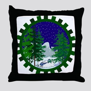 Winter Snowmobile Christmas Throw Pillow