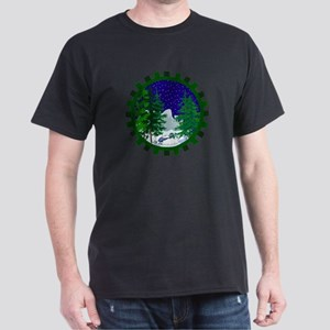 Winter Snowmobile Christmas Dark T-Shirt