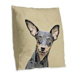 Miniature Pinscher Burlap Throw Pillow