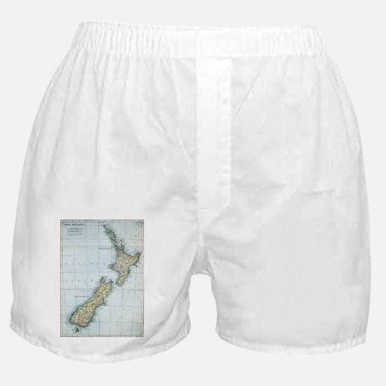 Vintage Map of New Zealand (1921) Boxer Shorts