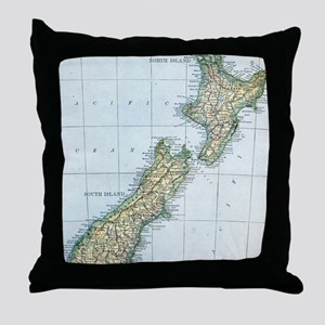 Vintage Map of New Zealand (1921) Throw Pillow