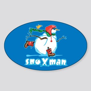 Action Snowman Oval Sticker
