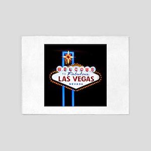 Las Vegas Welcome Sign Neon 5'x7'Area Rug
