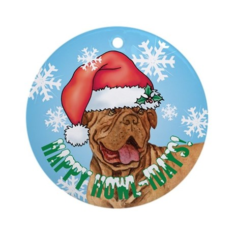 Holiday Dogue de Bordeaux Ornament (Round)