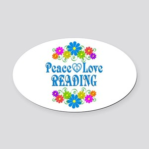 Peace Love Reading Oval Car Magnet