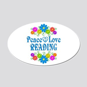 Peace Love Reading 20x12 Oval Wall Decal