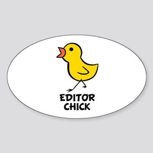 Editor Chick Oval Sticker