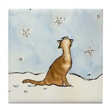 Winter with cats Tile Coasters
