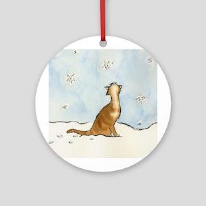 Snowflake Cat Ornament (Round)
