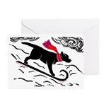 Black Lab Toboggan Dog Print Holiday Cards (10)