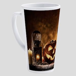 Halloween Pumpkins And A Crow 17 oz Latte Mug
