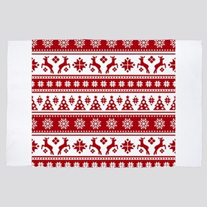 Christmas Holiday Nordic Pattern Cozy 4' x 6' Rug