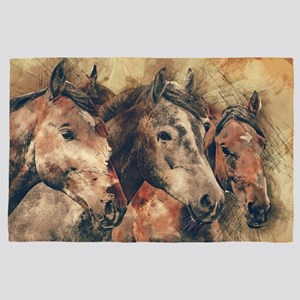 Horses Artistic Watercolor Painting De 4' x 6' Rug