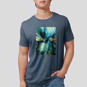 Abstract Blue Oil Painting Fractal T-Shirt