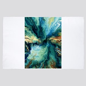 Abstract Blue Oil Painting Fractal 4' x 6' Rug