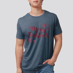 Merry Christmas Red Glitter Script Snowfla T-Shirt