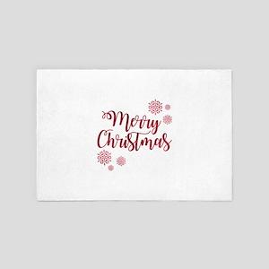 Merry Christmas Red Glitter Script Sno 4' x 6' Rug