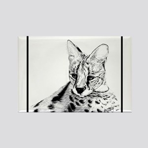 Serval reclined Rectangle Magnet