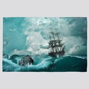 Storm Sea Ship Shipwreck Ocean Blue 4' x 6' Rug