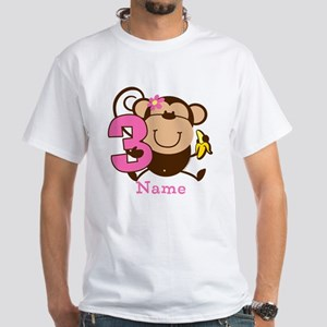 Personalized Monkey Girl 3rd Birthday T-Shirt