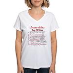 Snowmobiler top Ten Lies Women's V-Neck T-Shirt