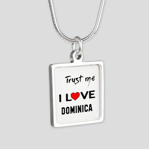 Trust me I Love Dominica Silver Square Necklace