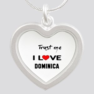 Trust me I Love Dominica Silver Heart Necklace