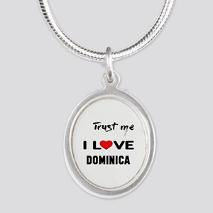 Trust me I Love Dominica Silver Oval Necklace