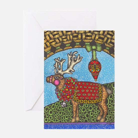 Reindeer in a Snow Storm Greeting Card