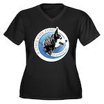 Women's Plus Size V-Neck Dark T-Shirt w/ Logo