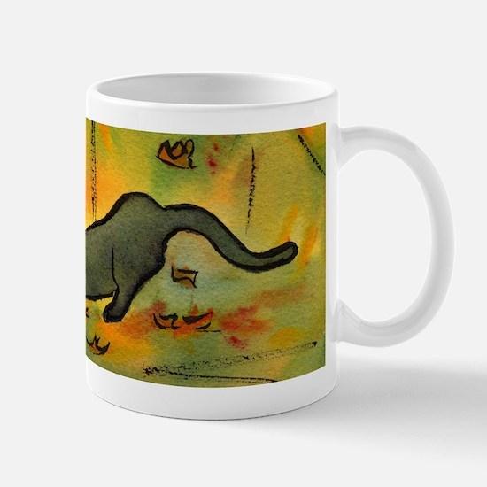 Leaves Scatter Cat Mug