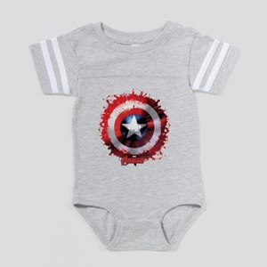 Avengers Cap Shield Spatter Baby Football Bodysuit