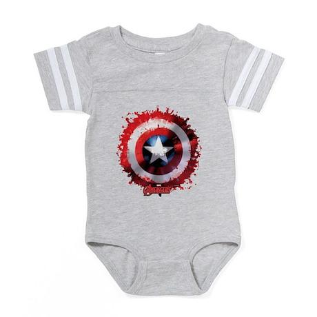 Avengers Cap Shield Spatter Baby Football Bodysuit