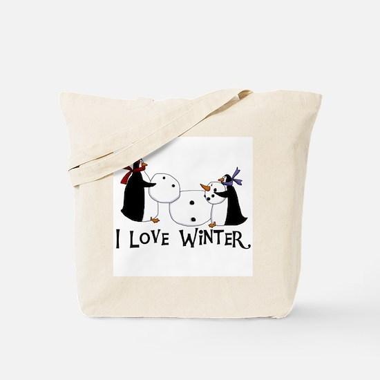 Penguins Love Winter Tote Bag
