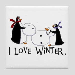 Penguins Love Winter Tile Coaster