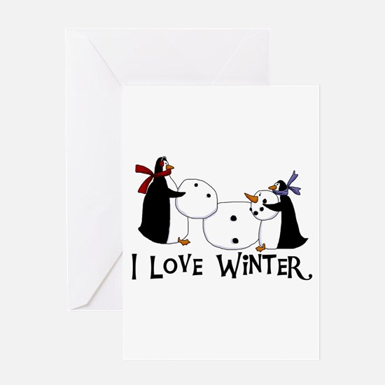 Penguins Love Winter Greeting Card